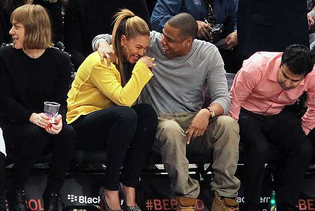 jay-z beyonce basketball laughing
