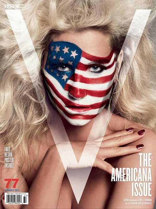 ke$ha american flag face paint v magazine americana