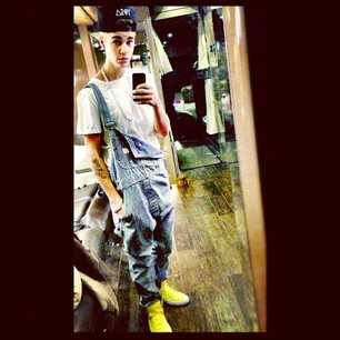 Justin Bieber Overalls on the Tour Bus in Canada
