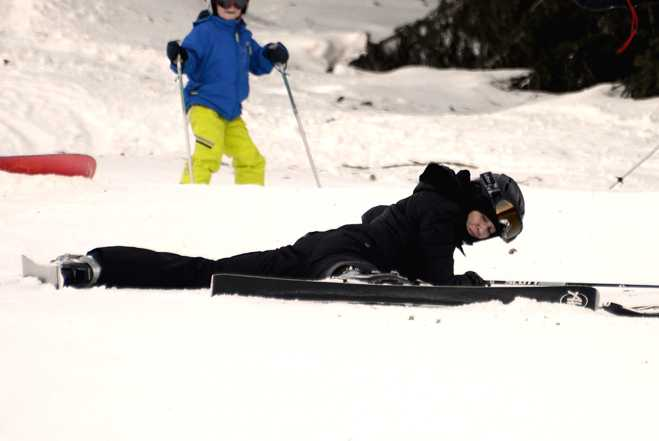 Madonna Skiing Fall