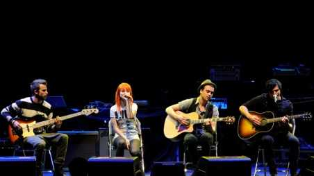 LOS ANGELES, CA - MAY 06:  Singer Hayley Williams (2nd from left) with Paramore performs at the 7th Annual MusiCares MAP Fund Benefit at Club Nokia on May 6, 2011 in Los Angeles, California.  (Photo by Kevin Winter/Getty Images) *** Local Caption *** Hayley Williams;
