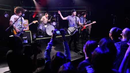 NEW YORK, NY - APRIL 12:  Vocalist/guitarist Patrick Stump, bassist Pete Wentz, guitarist Joe Trohman, and drummer Andy Hurley of Fall Out Boy performs at iHeartRadio Theater on April 12, 2013 in New York City.  (Photo by Stephen Lovekin/Getty Images for iHeartRadio)
