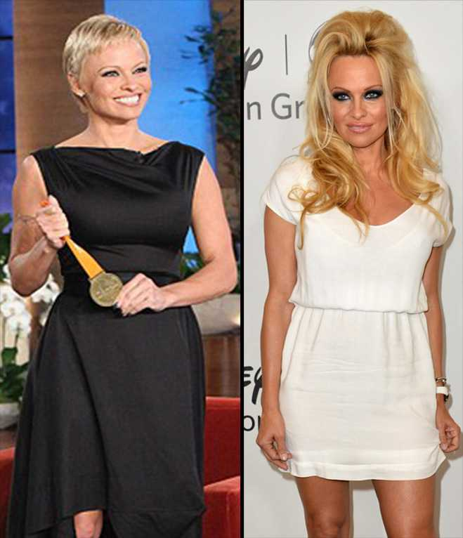 Pamela Anderson is looking drastically different from her tousled hair days—Photo: Ellen/Getty