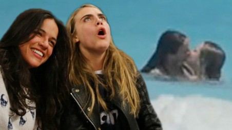Michelle Rodriguez Cara Delevigne Makeout Video Topless Beach