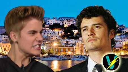 Orlando Bloom Justin Bieber Fight video feud Ibiza Miranda Kerr Selena Gomez