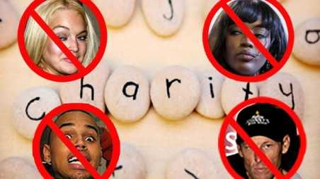 Charity celebrity shit list lindsay lohan chris brown naomi campbell lance armstrong