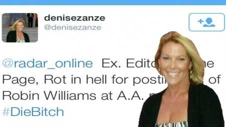 Internet trolls death threats twitter denise zanze robin williams suicide