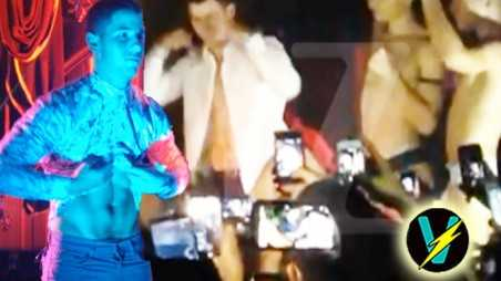 Nick Jonas gay clubs video tour twin flashes ab topless NYC