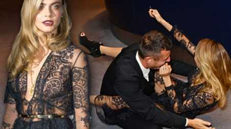 cara delevingne fall photos gq awards eats it model