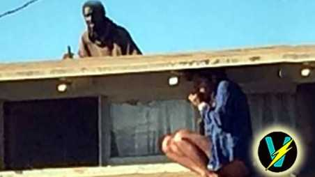 half naked woman hiding home intruder video roof venice slasher