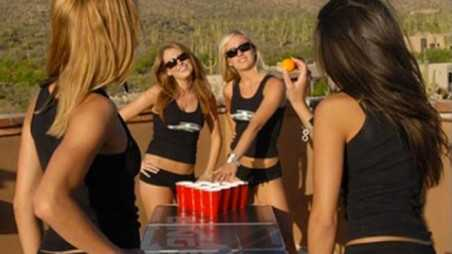 beer pong game shooting