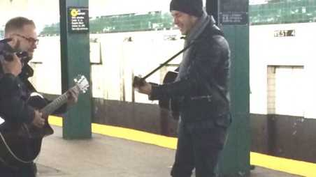 nick jonas performs subway station new york