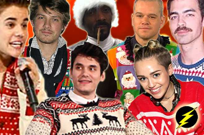 Celebrity Ugly Holiday Sweater Photos Christmas