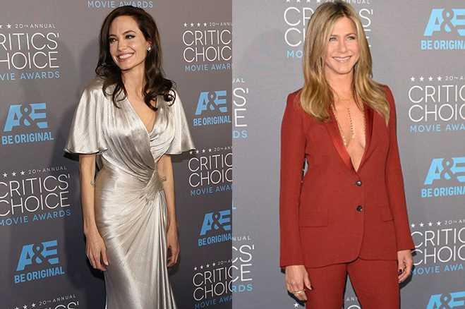 Battle Of Boobs Between Angelina Jolie and Jen Aniston At