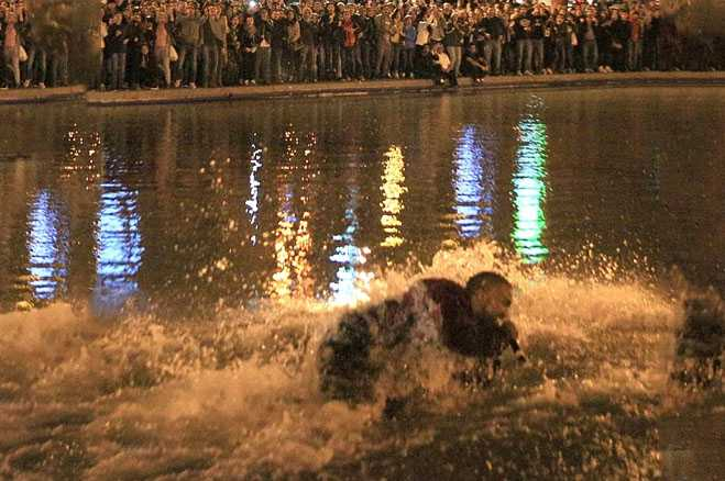 Kanye West Surpise Concert Armenia Jumps In Lake