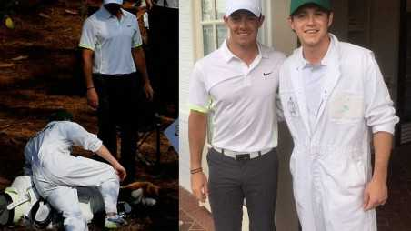 Niall Horan Slips Over Rory McIlroy Caddy Golf
