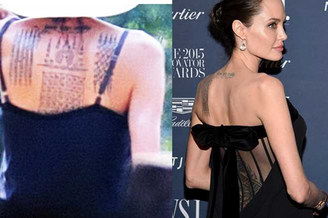 angelina jolie back tattoo wanted wwwimgkidcom the